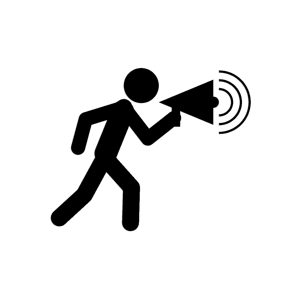 icon stick figure announcer with megaphone