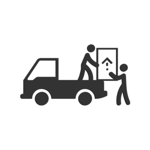 delivery truck icon with two stick figures removing a large box