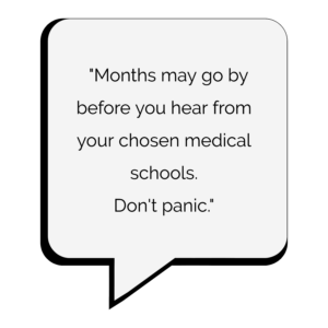 why you haven't heard back from medical schools text bubble
