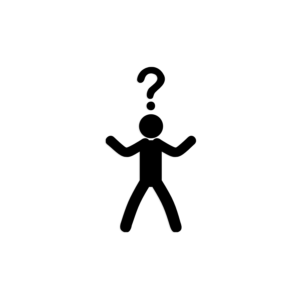 icon stick figure with question mark above head