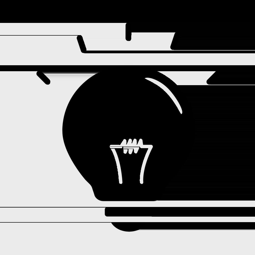 icon black & white lightbulb
